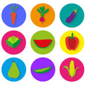 Vegetables icons vector graphics — Stock Vector