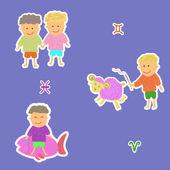 Horoscope aries fish twins — Vetorial Stock