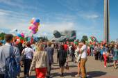 Victory parade in Brest on honor of the seventieth anniversary Great Patriotic War — Stock Photo