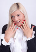 Beautiful young woman hiding his face with hands — Stock Photo