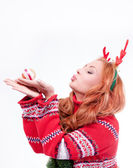 Beautiful woman with horns — Stock Photo