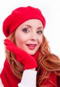 Woman with red gloves and hat — Stock Photo
