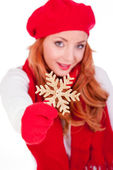 Woman with winter red hat — Stock Photo