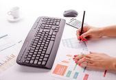 Keyboard on office desk — Stock Photo