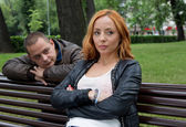 Young man and woman angry and conflicting — Stock Photo