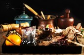 Bunch of kitchen equipment and spices — Stock Photo