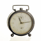 Old alarm clock isolated on white  — Stock Photo