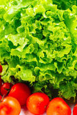 Lettuce Salad And Tomatoes — Stock Photo