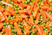 Cooked peas and carrots — Stock fotografie