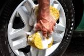 Man wash car — Stock Photo