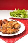 Roast chicken with salad — Stock Photo