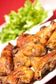 Roasted chicken on plate with salad — Stock Photo