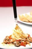 Fork with spaghetti — Stock Photo