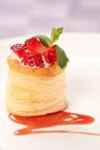 Strawberry Tart with Fresh Cream in Puff Pastry — Stock Photo