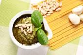 Ingredients for the spaghetti al pesto — Stock Photo
