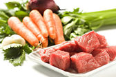 Raw Ingredients For A Traditional Beef Stew Recipe — Fotografia Stock