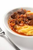 Polenta and stew — Stock Photo