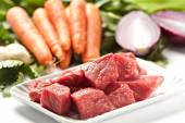 Raw Ingredients For A Traditional Beef Stew Recipe — Stock Photo