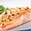 Fillet of salmon with asparagus — Stock Photo #66442955