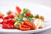 Fillet of halibut with tomatoes — Stock Photo