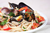 Tasty Seafood spaghetti — Stock Photo