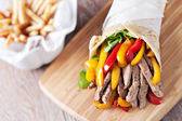 Fajitas with fries — Stock Photo