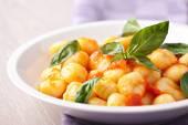 Gnocchi with tomato mozzarella — Stock Photo