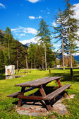 Picnic area in a park — Stock Photo