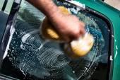 Man  washing car — Stock Photo
