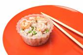 Rice with shrimps and mushrooms — Stock Photo