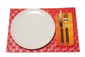 Forchetta e coltello su un tovagliolo — Foto Stock