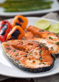 Salmon with mixed vegetables — Stock Photo