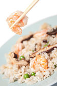 Chinese rice with shrimp and mushrooms — Stock Photo