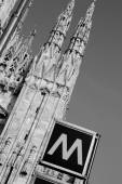 Signal underground with the Milan Cathedral — Stock Photo