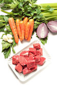 Raw Ingredients For Beef Stew — Stock Photo