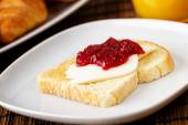 Strawberry Jam on Toast — Stock Photo