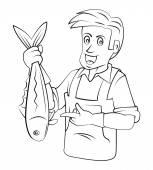 Fishmonger — Stock Vector