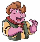 Cowboy Pig — Stock Vector