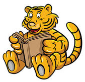 Tiger Learning with Book — Stock Vector
