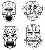 Totem Mask Set Collection — Stock Vector