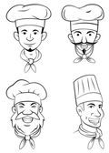 Chef Head Set Collection — Stock Vector