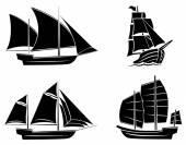 Black Silhouette Collection Of Ship Symbol — Vector de stock