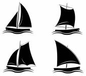 Black Silhouette Collection Of Boat Symbol — Stock Vector