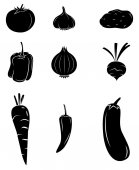 Black Silhouette Collection Of Vegetable — Stock Vector