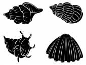 Black Silhouette Collection Of Sea Shell — Stock Vector