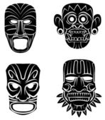 Black Silhouette Collection Of Totem Mask — Stock Vector