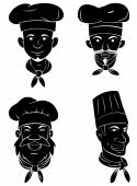 Black Silhouette Collection Of Chef Head — Stock Vector