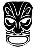 Totem Mask Black Silhoutte Of — Stock Vector