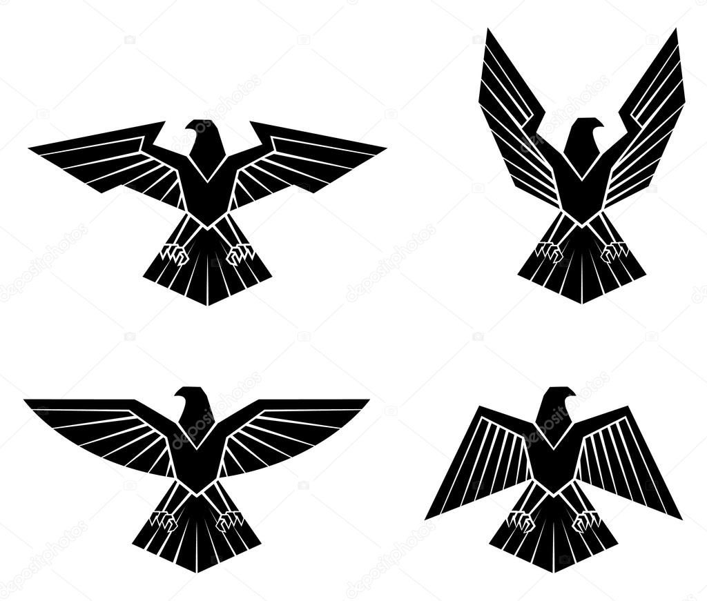 Black Silhouette Collection Of Eagle Symbol — Stock Vector #61098975 Eagle Silhouette Vector