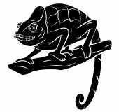 Black Silhouette : Chameleon — Stock Vector